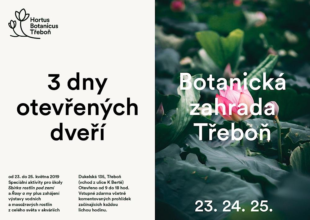 Pozvánka na tradiční Dny otevřených dveří v Botanické zahradě Třeboň, 23.-25. 5. 2019